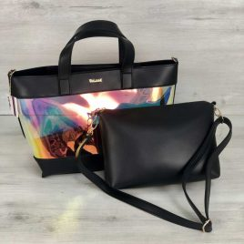 2в1 Перламутровая сумка Арина черного цвета (полупрозрачная)
