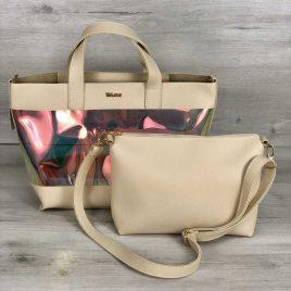 2в1 Перламутровая сумка Арина бежевого цвета (полупрозрачная)