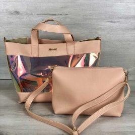 2в1 Перламутровая сумка Арина пудрового цвета (полупрозрачная)