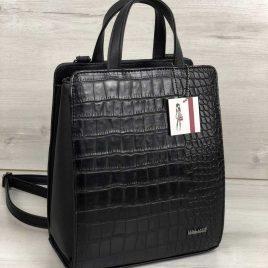 каркасный сумка-рюкзак черного цвета со вставкой черный крокодил