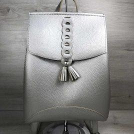 сумка-рюкзак Брида серебряного цвета