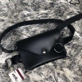 Кожаная женская сумка на пояс Perl черного цвета