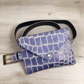 Женская сумка на пояс голубой крокодил