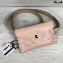 Кожаная женская сумка на пояс Lofi пудрового цвета