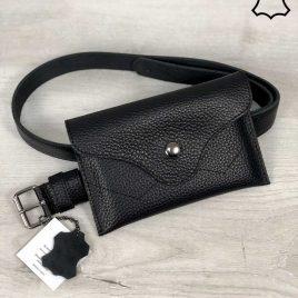 Кожаная женская сумка на пояс Lofi черного цвета