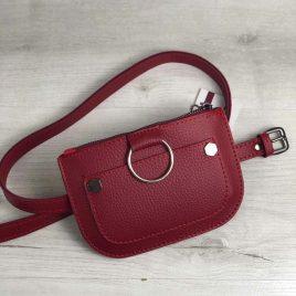 Женская сумка на пояс Дэви красного цвета