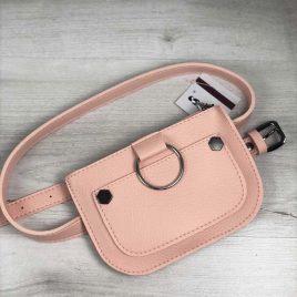 Женская сумка на пояс Дэви пудрового цвета