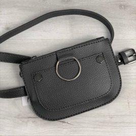 Женская сумка на пояс Дэви серого цвета