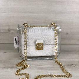 2в1 сумка Сильвия силиконовая с косметичкой белая рептилия