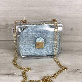 2в1 сумка Сильвия силиконовая с косметичкой голубой крокодил