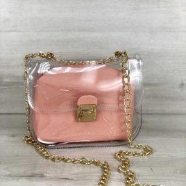 2в1 сумка Сильвия силиконовая с косметичкой пудрового цвета
