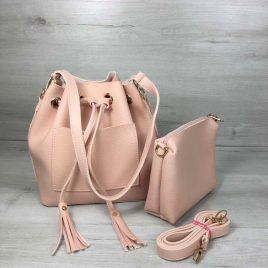 сумка из эко-кожи Люция пудрового цвета