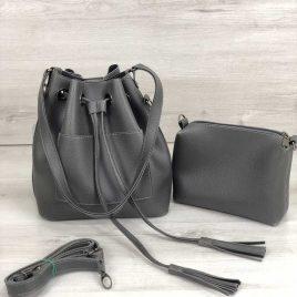 сумка из эко-кожи Люция серого цвета (никель)