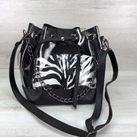 2в1 сумка Люция силикон с черным (зебра)