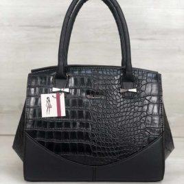 Каркасная женская сумка Виолетта черного цвета со вставками черный крокодил