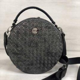 Клатч-кругляш черного цвета со вставкой серебро