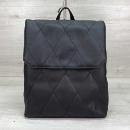 Городской стеганый черный рюкзак трансформер