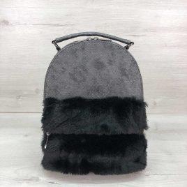 Рюкзак зимний Карина серого цвета с мехом