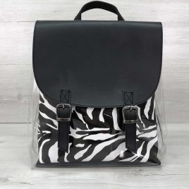 Силиконовый рюкзак черный с косметичкой зебра