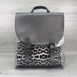 Силиконовый рюкзак металлик с косметичкой леопард