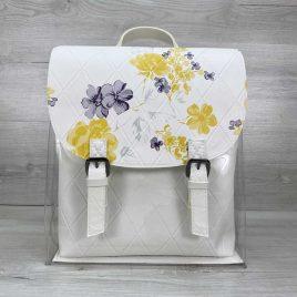 Силиконовый рюкзак белый с цветочным принтом