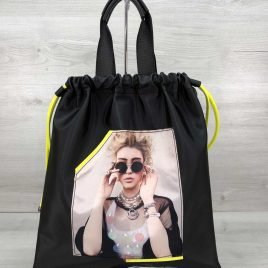 Женский рюкзак-шоппер Barry черный с неоновым желтым