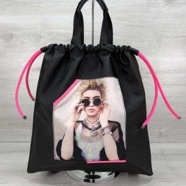 Женский рюкзак-шоппер Barry черный с неоновым малиновым