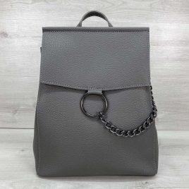 Сумка-рюкзак трансформер с кольцом Марио серый