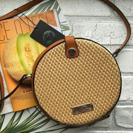Клатч круглый плетеный соломенный brown