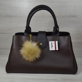 сумка Аманда коричневая с черным