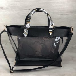 2в1 сумка Арина черного цвета с силиконом и серой косметичкой