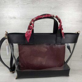 2в1 сумка Арина черного цвета с силиконом и бордовой косметичкой