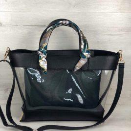 2в1 сумка Арина черного цвета с силиконом и зеленой косметичкой