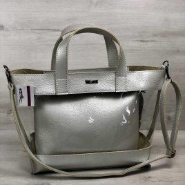 2в1 сумка Арина серебряного цвета