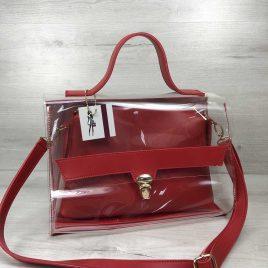 2в1 сумка Эльмира красного цвета с силиконом (прозрачная)