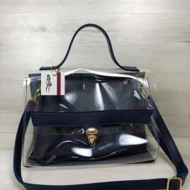2в1 сумка Эльмира темно синего цвета с силиконом (прозрачная)