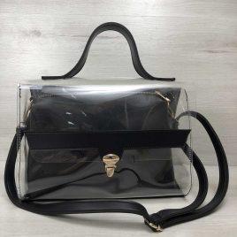 2в1 сумка Эльмира черного цвета с силиконом (прозрачная)