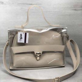 2в1 сумка Эльмира бежевого цвета с силиконом (прозрачная)