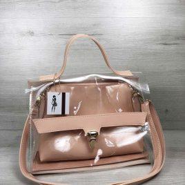 2в1 сумка Эльмира пудрового цвета с силиконом (прозрачная)