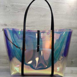 Яркая перламутровая силиконовая сумка 2в1 с черным
