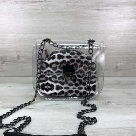 2в1 сумка Сильвия силиконовая с косметичкой черно-белый леопард