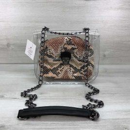 2в1 сумка Сильвия силиконовая с косметичкой бежевая рептилия