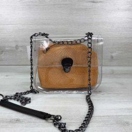 2в1 сумка Сильвия силиконовая с косметичкой горчичная рептилия