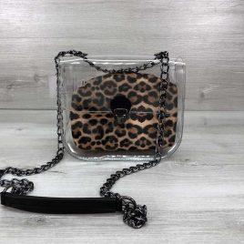 2в1 сумка Сильвия силиконовая с косметичкой леопард
