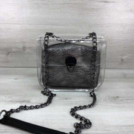 2в1 сумка Сильвия силиконовая с косметичкой серебро