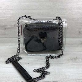 2в1 сумка Сильвия силиконовая с косметичкой черный крокодил