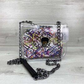 2в1 сумка Сильвия силиконовая с косметичкой белая абстракция