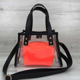 Силиконовая прозрачная сумка-мини Aster с оранжевым