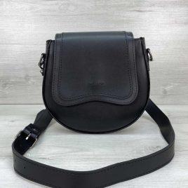 Полукруглая сумка Megan черная вставка рептилия