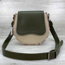 Полукруглая сумка Megan оливковая с бежевый рептилия